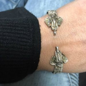 VINTAGE Sterling 925 Double Elephant Head Bracelet